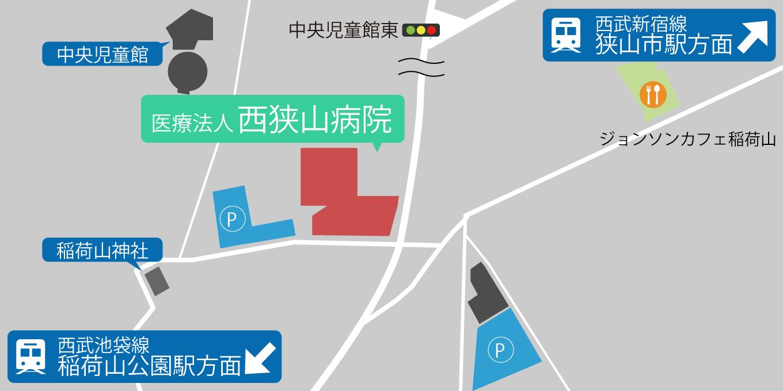 病院の駐車場の地図